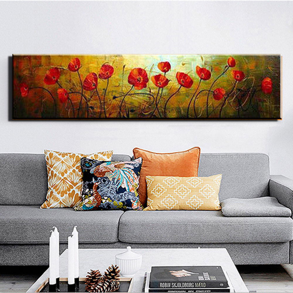 Abstract Modern Large Single Wall Art Red Poppy Hand