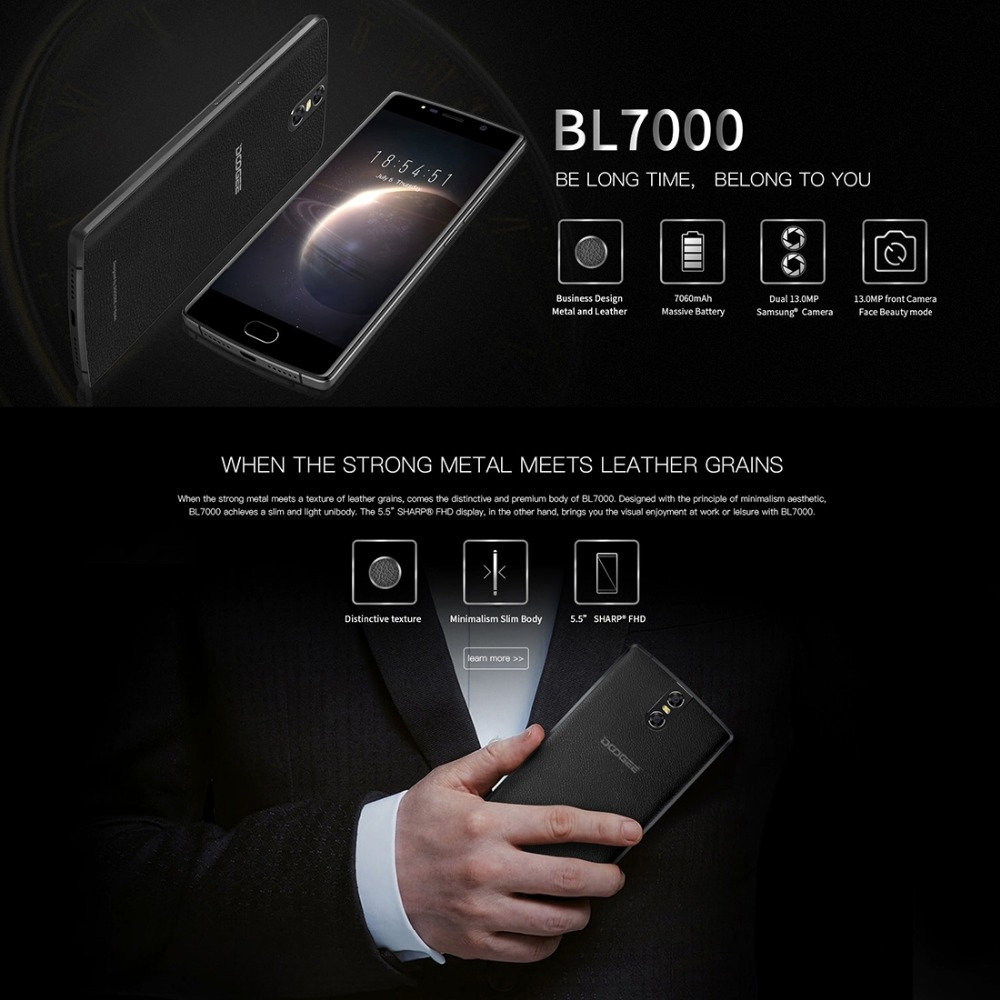 """DOOGEE BL7000 4GB RAM 64GB ROM Dual 13MP Camera Mobile Phone 5.5"""" FHD Android 7.0 MTK6750T Octa"""