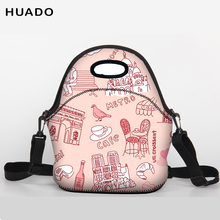 Купить с кэшбэком 2018 Valentine's Day present Lunch Bag Neoprene Large shoulder belt Lunch bags for Women Kids Baby Girls