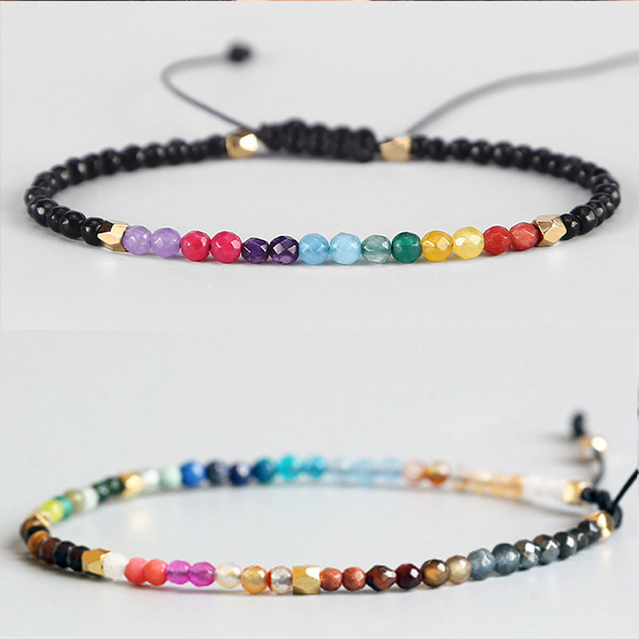 nueva llegada cbbf7 edb21 US $5.39 10% OFF|Pulseras Mujer Moda 2018 Fashion Hollywood Jewelry  Adjustable Rope 3mm Crystal Beads Stone Lucky Bracelet Custom Charm  Bracelet-in ...
