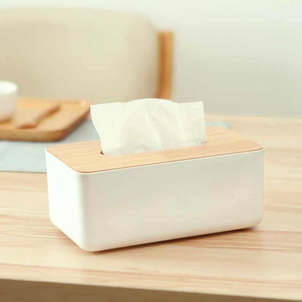 Plastic Tissue Box New Brand Modern Wooden Cover Paper with Oak Home Car Napkins Holder Case Home Organizer Decoration Tools