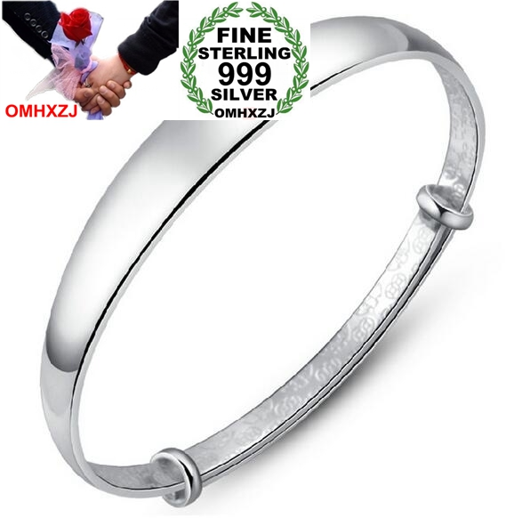 OMHXZJ Wholesale Fashion Jewelry Woman Kpop Star Smooth Fine 999 Sterling Silver Adjustable Bracelet Bangles Gift SZ16