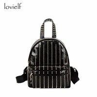Lovielf NEW Women Female Girl Fashion PU Leather Black Bling Laser Cool Punk Rock Small Mini