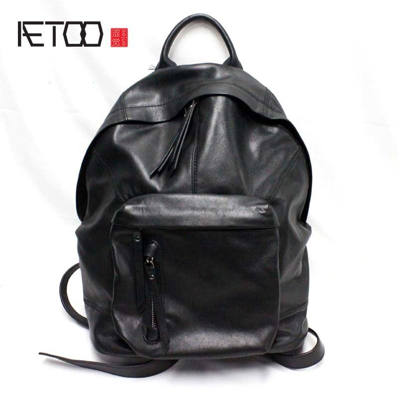 AETOO En Cuir grand sac d'épaule simple version Coréenne de cuir hommes et femmes casual marée neutre voyage sac à dos grand sac