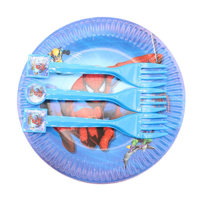 10pcs/lot Spiderman Blue  Batman Disposable Tableware Supplies Forks Spoons Knives Christmas Birthday Party Decorations Kids Boy