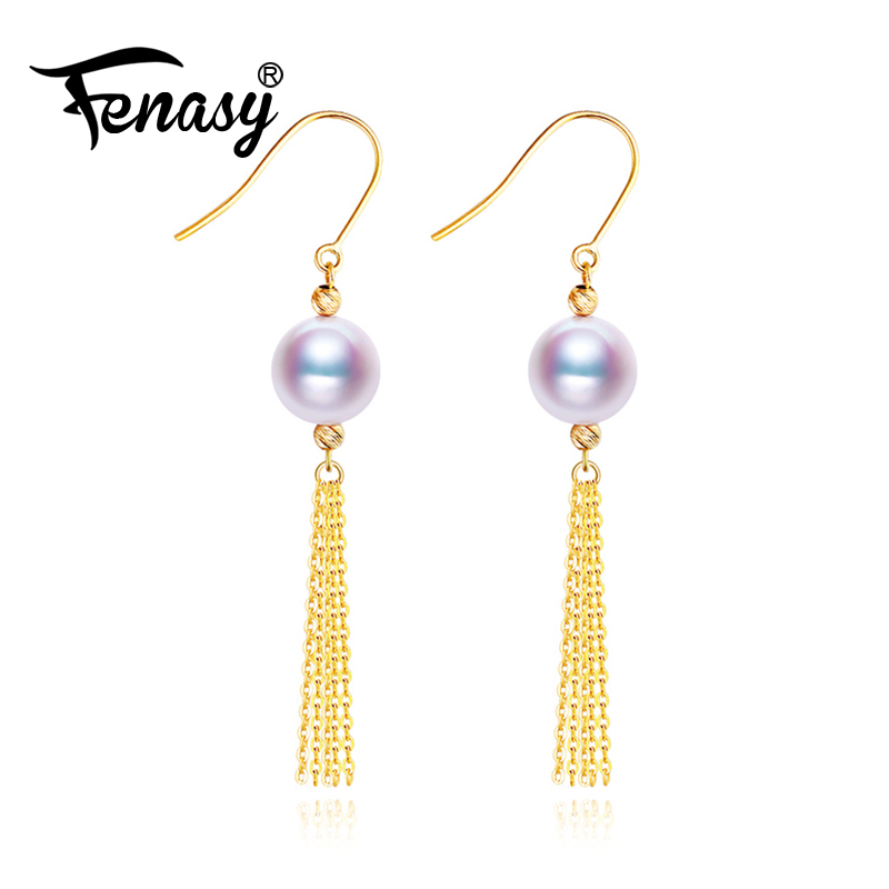 FENASY Accessories Tassel-Earrings Pearl Jewelry Gold Freshwater Women 18k Birthday-Gift