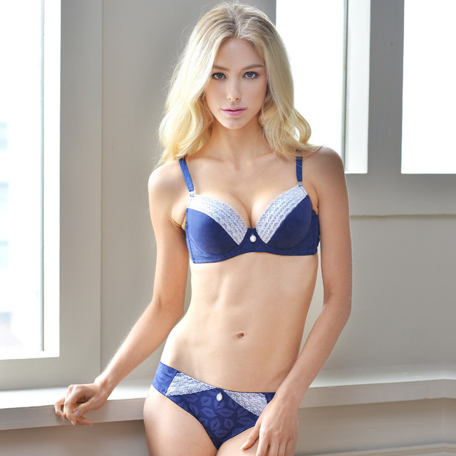 7664cec9f5 French Brand Lace Closure Luxury Bombshell Bra Set Ensemble Sexy Junior  Tops Intimates Romance Lingerie Victoria Princess Blue