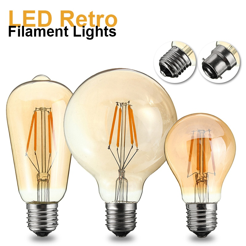Vintage Edison Bulb B22 E27 LED Light Retro Filament Bulb 4W G95 ST58 A60 Globe Cage Pendant Lamp Lighting 220V-240V 400LM 5pcs e27 led bulb 2w 4w 6w vintage cold white warm white edison lamp g45 led filament decorative bulb ac 220v 240v