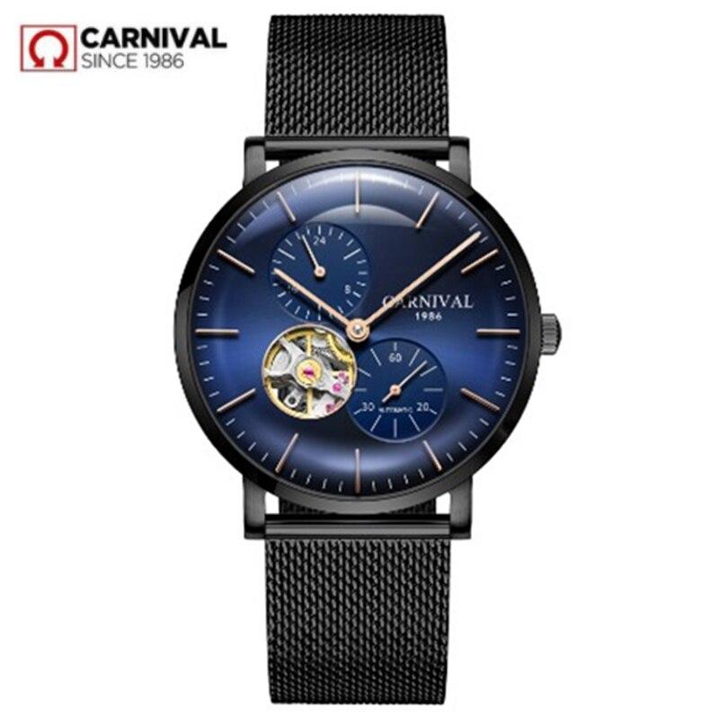2018Carnival ultrathin men watch top brand luxury automatic mechanical watches men full steel clocks relogio masculine kol saati