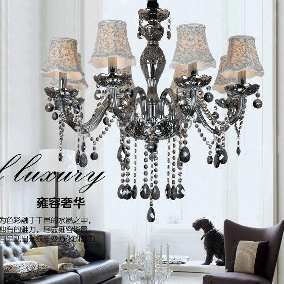promotion smoke grey colo crystal chandeliers with shade , E12/<font><b>14</b></font> lamp holders,110-120V,<font><b>220</b></font>-240V image