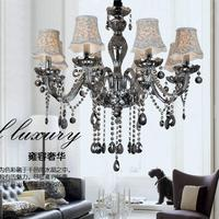 promotion smoke grey colo crystal chandeliers with shade , E12/14 lamp holders,110 120V,220 240V