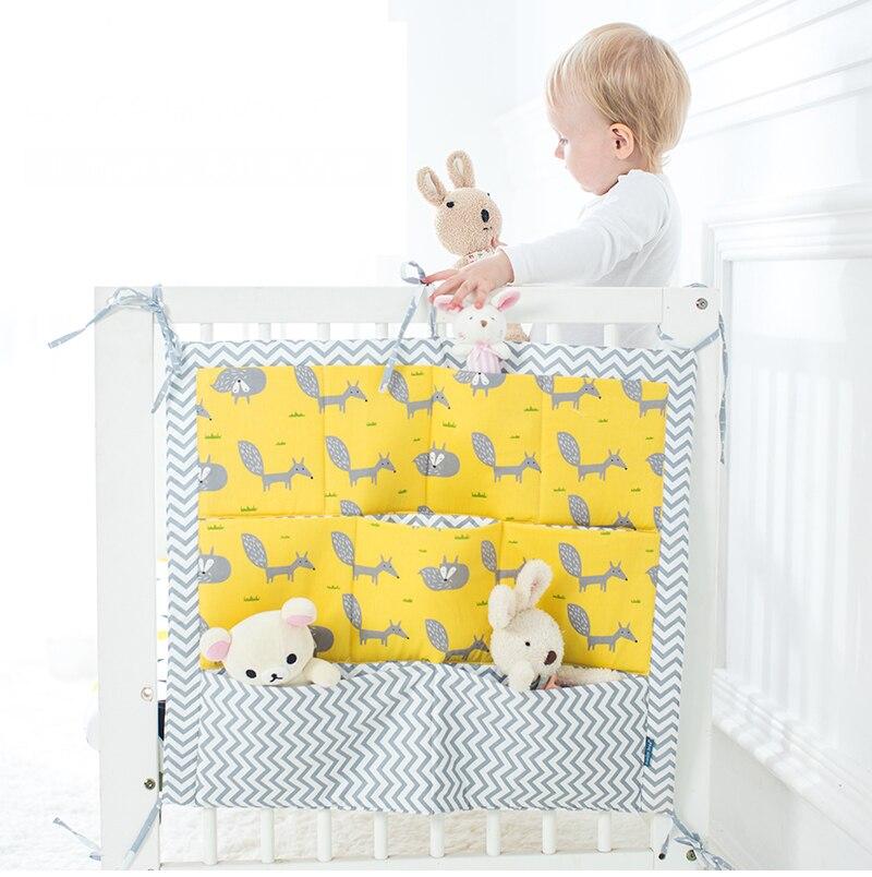 Bed Hanging Storage Bag Baby Cot Bed Brand Baby Cotton Crib Organizer 60*50cm Toy Diaper Pocket For Crib Bedding Set