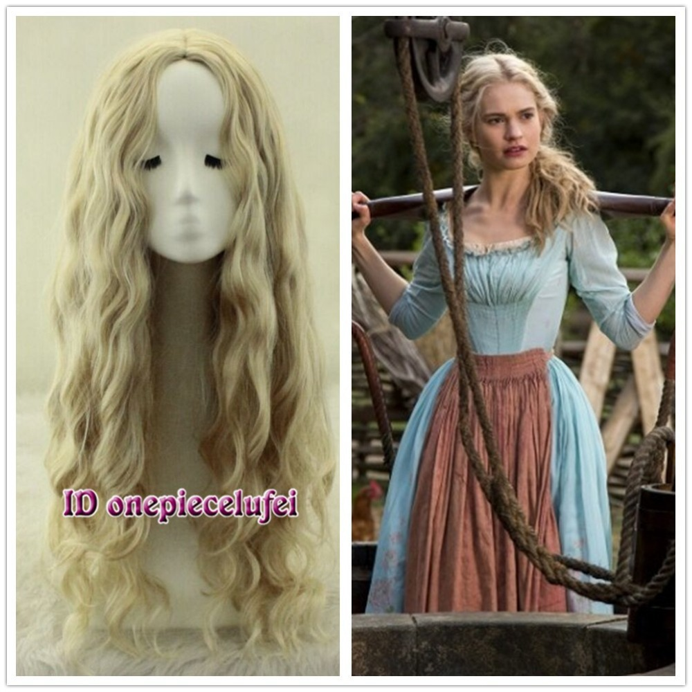 Free Shipping Cinderella Long wavy Curly Blonde Anime Cosplay Wig Fashion Wig No Bangs a wig Anime Fashion
