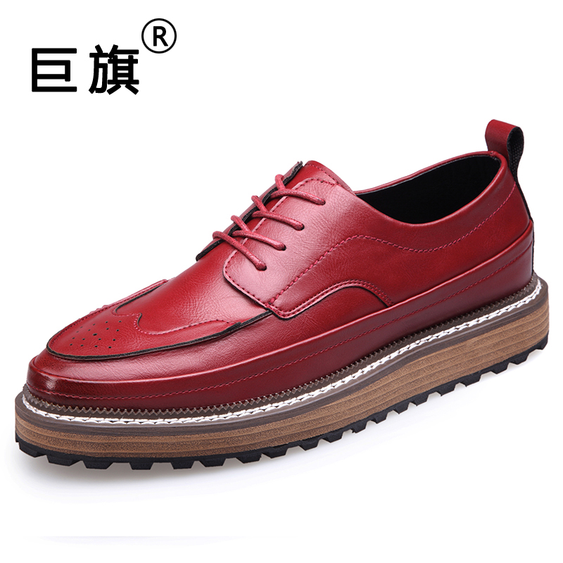 British style 2017 Spring New Genuine Leather Men Shoes Brogue Carved Lace-Up Bullock Business Men Oxfords Shoes Men Dress Shoes 2016 summer new retro british style men s business suits round leather shoes shoes oxford shoes bullock carved free shipping