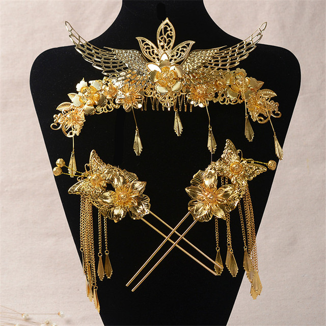 Chinese Style Classical Wedding Jewelry Sets Bridal Headdress Phoenix Wings Hair Accessories Gold Plated Comb Coronet Hairpins