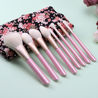 Support Customize Super Top Quality Goat Hair 8 Pcs Makeup Brush Set With Bag Powder Blush