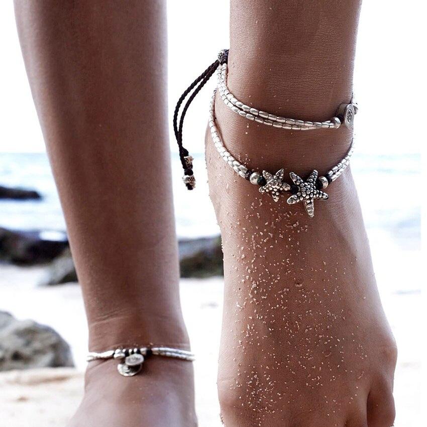 100% QualitäT Boho Retro Starfish Perlen Fußkettchen Frauen Fußfessel Tobillera Enkelbandje Cheville Silber Fußfessel Schmuck Femme Pulseras Modischer (In) Stil;