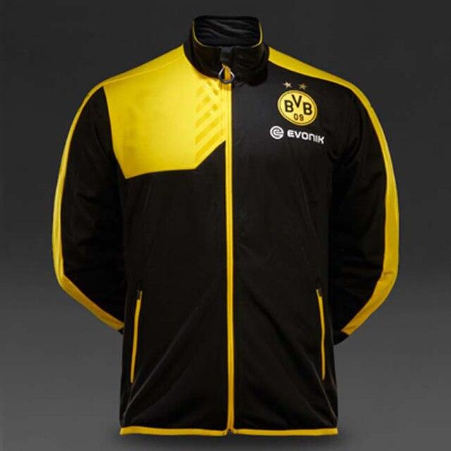 New 2015 16 N98 Borussia Dortmund jacket Thai quality BVB yellow Soccer  shirt Embroidery Logo soccer Training tracksuit sweater 7750322da