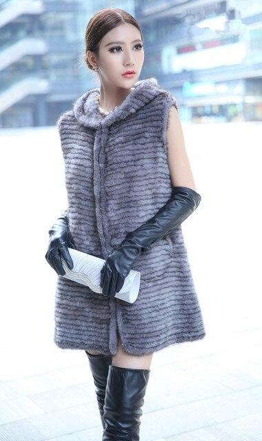 winter ladies fur vest genuine mink fur knitted warm outerwear with hood and belt  80cm long gray black autumn waistcoat K211