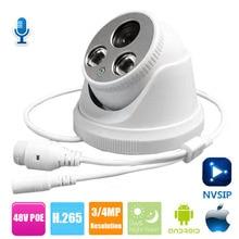 1080 P IP Кэм Onvif HD 2MP 4MP Камера POE с прием звука Купол видеонаблюдения ip-видеонаблюдения Камера сети Крытый Cam P2P