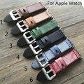 Diseño especial británico silla iwatch apple watch 38mm 42mm correa de cuero genuino correa de pulsera de la venda, 6 colores con adaptador