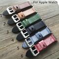 O projeto especial sela de couro genuíno britânico correa apple watch 38mm 42mm pulseira banda cinta iwatch, 6 cores com adaptador
