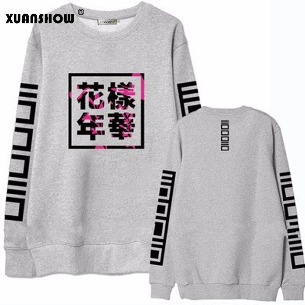 XUANSHOW 2018 Donne di Autunno della Molla Bangtan Ragazzi Album Fans Abbigliamento Grigio Colore Bianco Nero Casual Lettere Cinesi Top Stampati