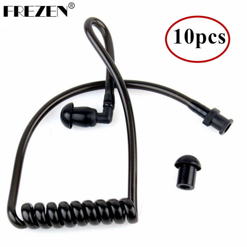 10PCS Replacement Black Coil Acoustic Air Tube Earplug For Walkie Talkie Two Way Radio Earpiece Wholesale