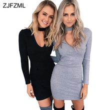ZJFZML Knitted Hollow Out Sexy Sweater Dress Women Turtleneck Cotton Bodycon Dress 2018 Autumn Long Sleeve Party Dress Vestido