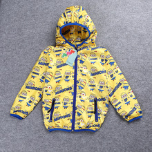 New spring autumn coat small yellow cartoon man windbreaker jacket boys Hoodie Bomber Jacke Baby Boys Windbreaker Boys Outerwear
