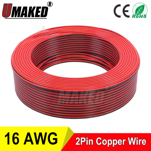 Copper 16AWG, 2 pin Red Black cable, PVC insulated wire, 16 awg wire ...