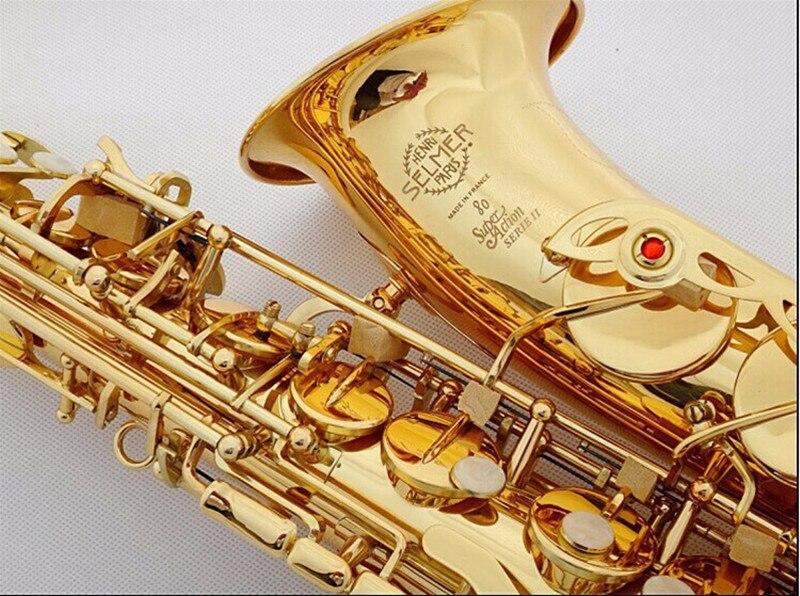 Саксофон альт инструмент высокого качества франция SAS-802 Новый Золотой Саксофон инструмент реальное изображение способ подарок отправлен ...