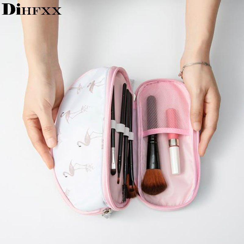 DIHFXX Portable Flamingo Cosmetic Bag Double Layer Travel MakeUp Pouch Bags Circular Make Up Bag Brush Organizer For Woman Pouch