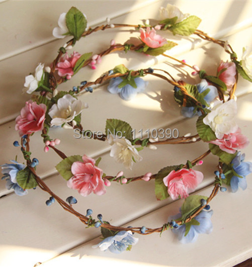 18CM Handmade Mini Cherry Blossom Wreathdiy Girl Bridal