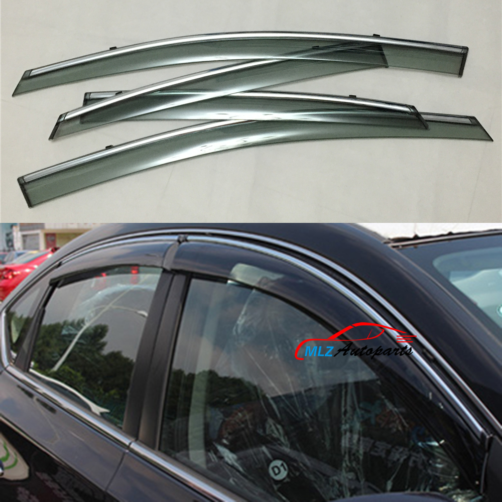 Sun Rain Visors Wind Deflector Door Side Window Guards Stainless Trim Shield 4PCS For Nissan Sentra Sylphy 2013 2014 2015 2016-in Awnings u0026 Shelters from ... & Sun Rain Visors Wind Deflector Door Side Window Guards Stainless ...