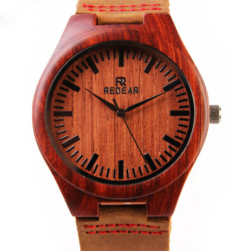 2016 Cheap Men's Wood Watches Brown Genuine Cowhide L