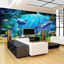 3D space ocean world dolphin fishes mural wallpaper for kids bedroom living room hotel baby infant swimming pool interior decor цена 2017