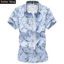 Лето 2017 г. новый большой Размеры Для мужчин рубашка 6XL 7XL мужской Повседневные принты футболка с коротким рукавом Гавайи брендовая Мужская одежда