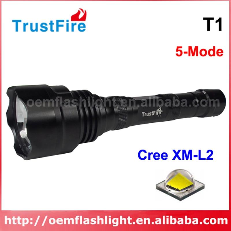 TrustFire T1 Cree XM-L2 U2 1600 Lumens 5-Mode LED Flashlight - Black (2 X 18650)