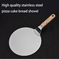 Paslanmaz Çelik Pizza kesici tesoura Mala Büyük Kalın Ahşap Yuvarlak Kek Ekmek Spatula Pişirme Araçları aksesuarları