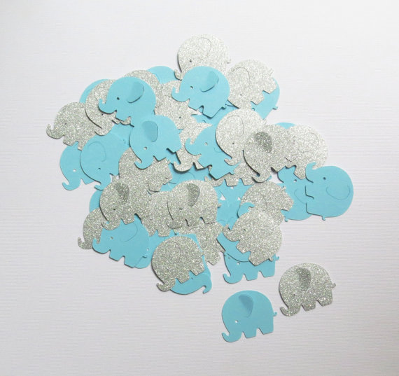 100pcs glitter Elephant Confetti, blue baby shower, blue and silver Confetti,table decor, 1st birthday,christening