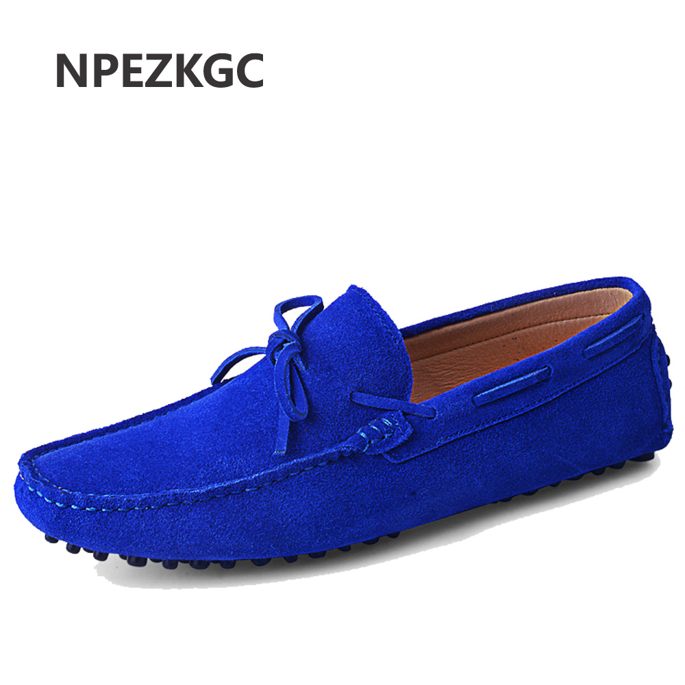 Genuine Leather Men Shoes Nubuck Leather Men Loafers Fashion Plus Size Sping Autumn Mens Shoes Casual Shoes 9 Colors Size 38-48 new 2017 autumn men leather shoes fashion design weave pattern handmade men casual leather shoes size 38 44