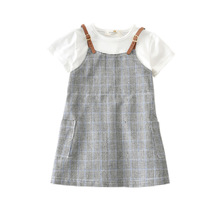 Kids Baby Girls Plaid Dresses Clothes 2-6 Years