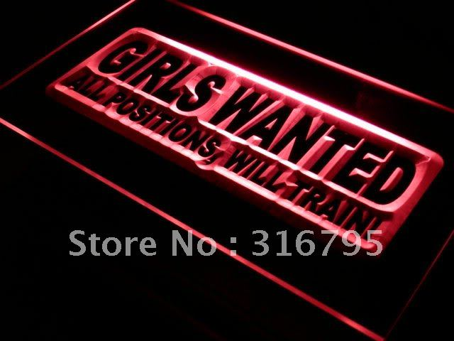 s006 Girls Wanted All Positions Bar LED Neon Light Sign On/Off Swtich 20+ Colors 5 Sizes