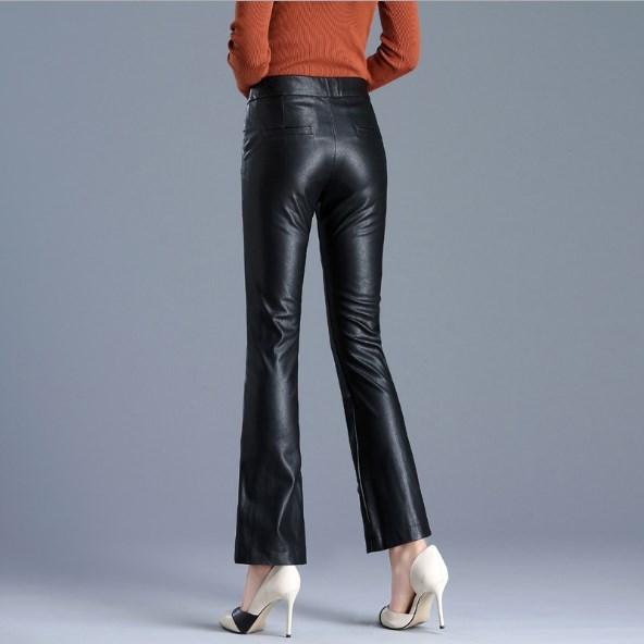 Femme Cuir Évasé Push Haute Taille 2 En Pantalon Femmes Faux Calcas 2019 Mince Up Noir Pu SCxOwRaq