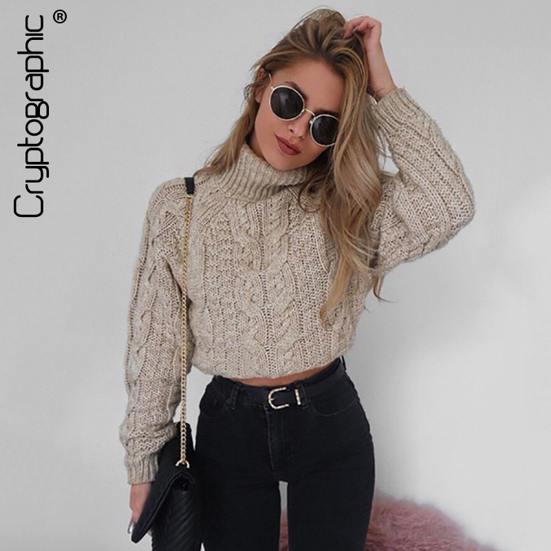 Detail Feedback Questions about Cryptographic fashion autumn winter  turtleneck sweaters for women cropped jumpers slim knitwear warm solid  pullover female ... 784440253