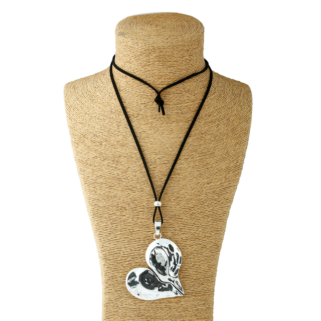 1 Pcs Lagenlook Necklace Antique sliver Tone Statement Abstract Metal Large Heart Pendant Long Curb Leather/Link Chain Necklaces 2