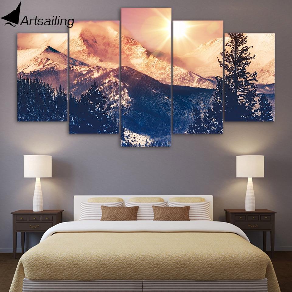Artsailing 5 pintura dawn na montanha pintura da lona inverno paisagem lona pintura para sala de estar NY-7749C