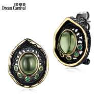 DreamCarnival 1989 Transparent Green Bead Stud Earrings for Women Black Gold Color Vintage Gothic Green Zirconia Pendientes