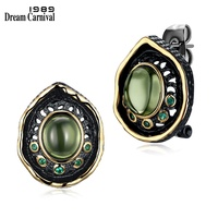 DreamCarnival 1989 Transparent Green Bead Stud Earrings For Women Black Gold Color Vintage Gothic Green Zirconia